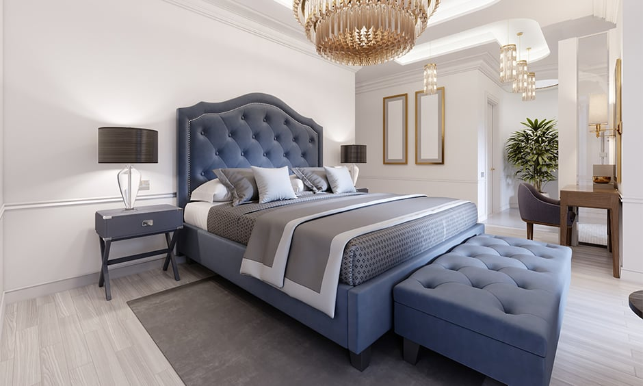 Navy blue and white bedroom design