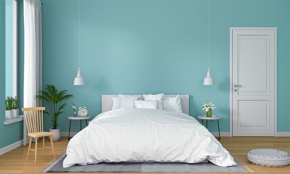 Pastel blue and white bedroom design ideas