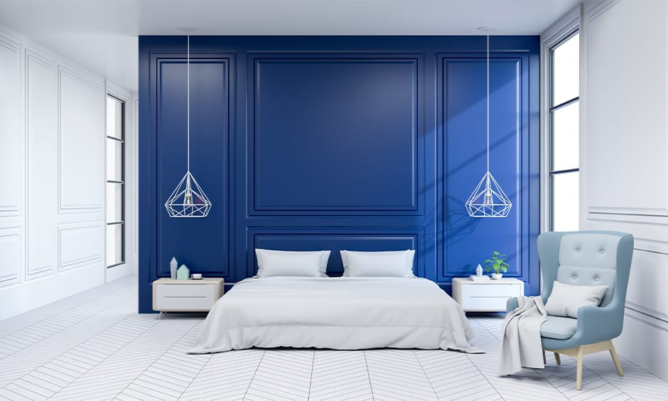 Regal blue and white bedroom design ideas