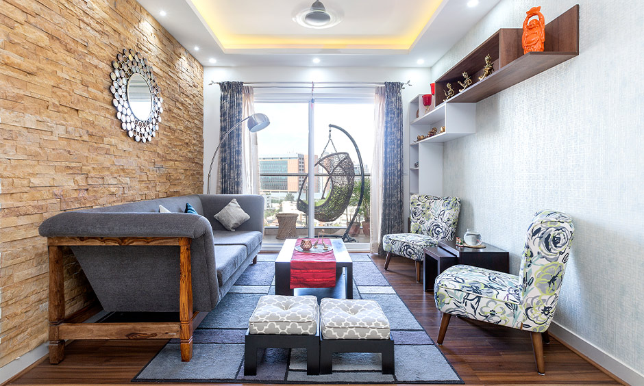 2.5 BHK Home Living room designed with wall cladding in doddanekundi bangalore.
