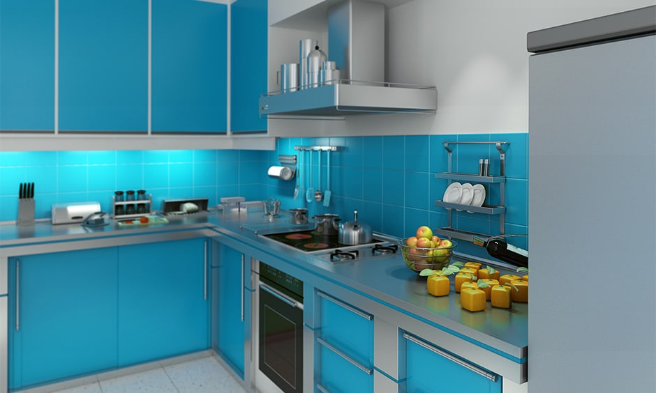 Aqua blue kitchen cabinets combined with light grey elements
