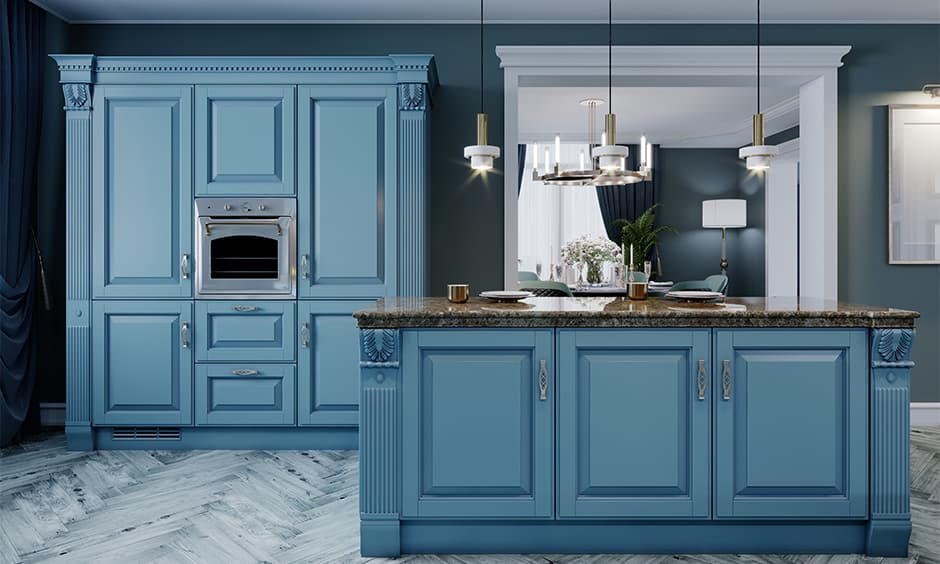 Blue kitchen cabinets design for your home