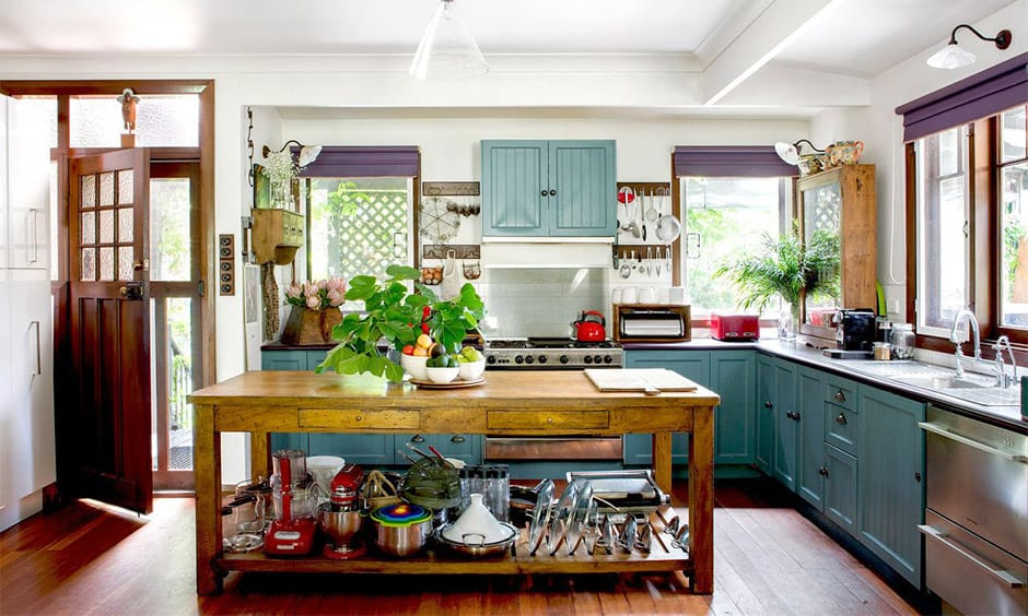 Steel blue kitchen cabinets suitable for country style and farmhouse themed kitchen spaces