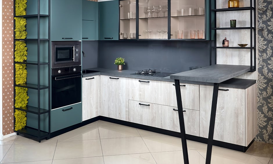 Turkish blue kitchen cabinets design with white-painted wooden cabinets