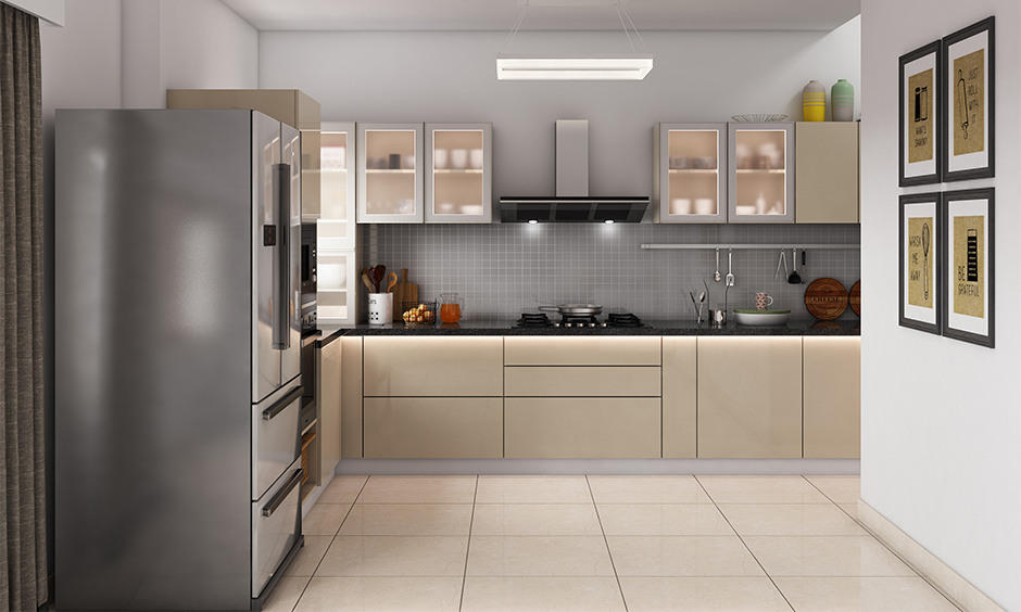 Top kitchen glass showcase cabinet placed collections of crockery inside it as showpiece is kitchen cabinet decor.