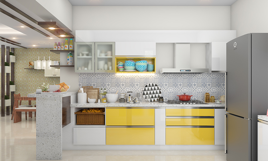 Top of kitchen cabinet decorated with white paint in the open kitchen is the minimalist decor.