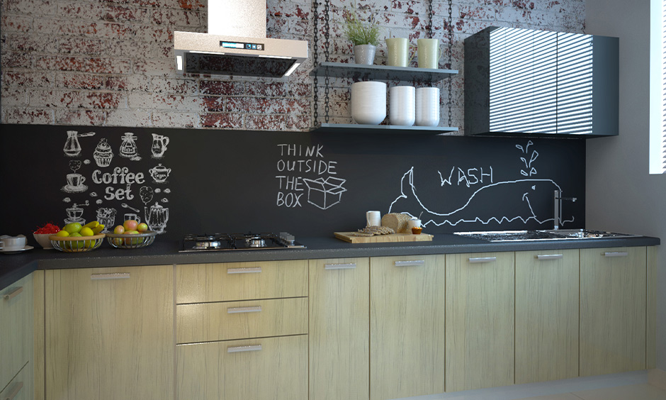 Top of kitchen cabinet decorated with a brick wall in the l-shaped modern kitchen.