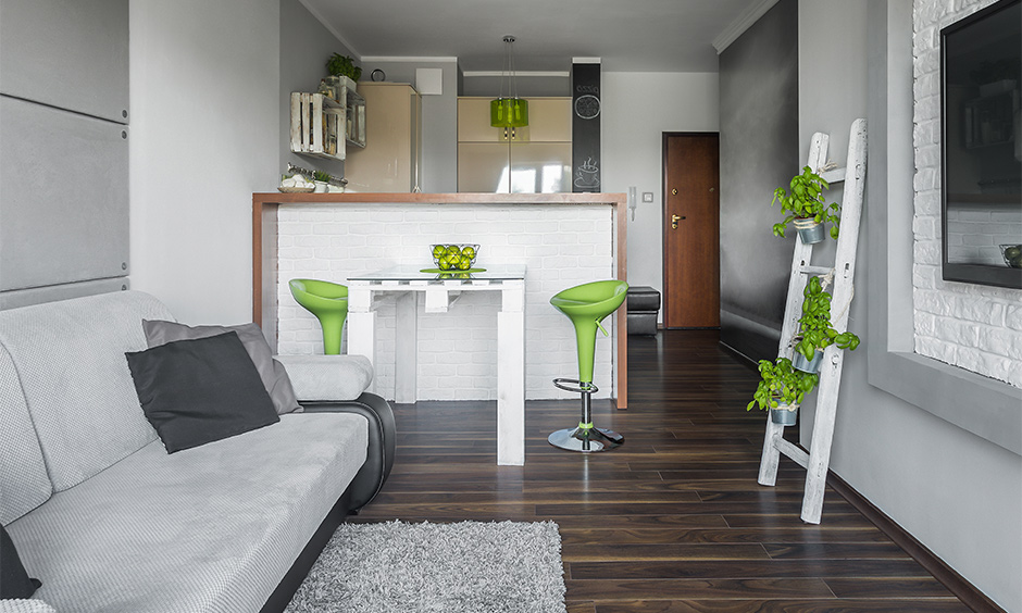 A small studio in greys and white with green bar stools and indoor hanging plants is an interior decorating studio apartment.