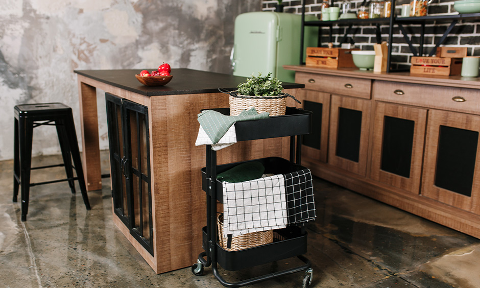 Metal kitchen island cart which goes with different styles of kitchen decor