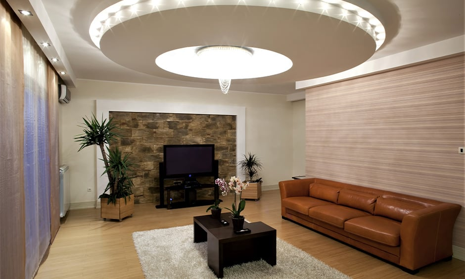 Ceiling hanging decor with dome-shaped false ceiling decoration