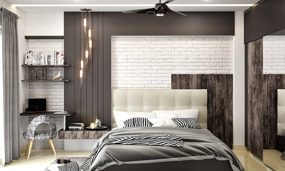 High-gloss black led fan ceiling decoration for bedroom with different textures and designs