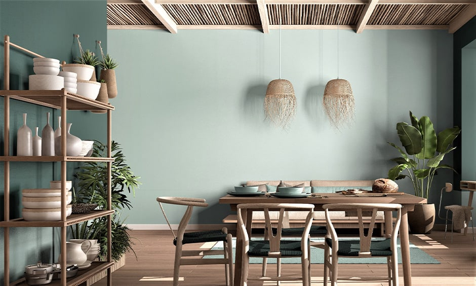 Ceiling decoration for living room with sustainable and naturally recyclable material
