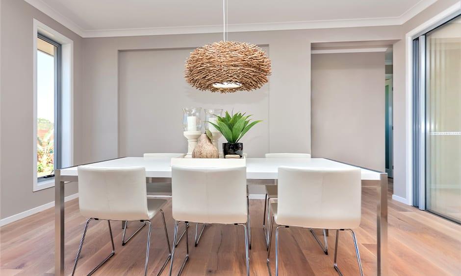Rattan bird's nest light ceiling decoration ideas for dining room