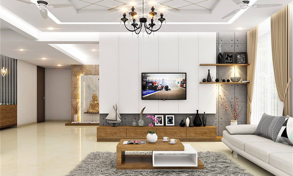 Wallpaper ceiling decoration with the wooden furniture in the room