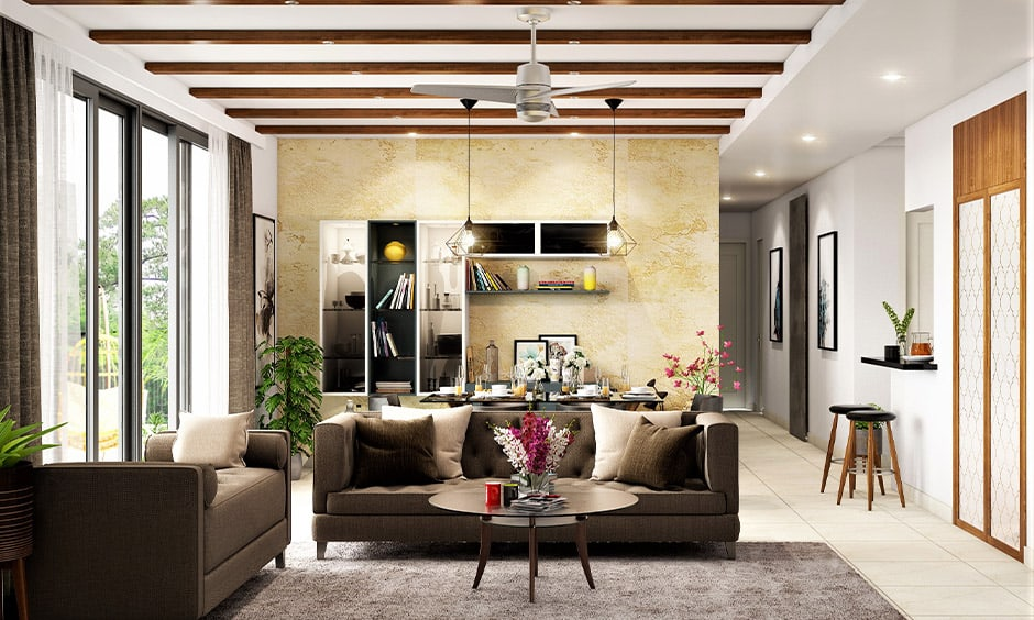 Wooden panels ceiling decoration images for your living room