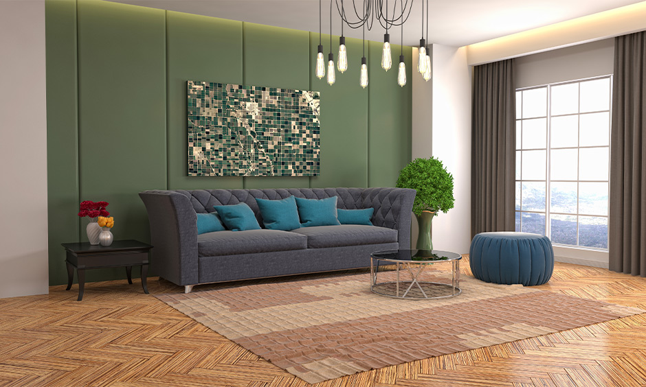 White and green walls with grey curtain in the living room meant to be calming.