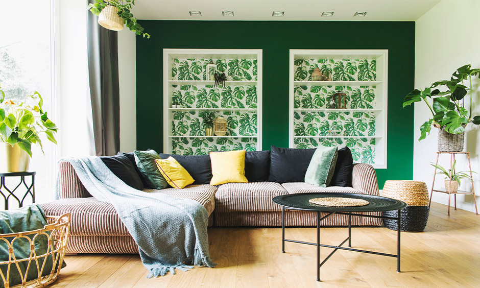 A big window with a solid grey curtain in the living room is the curtain to go with the green wall.