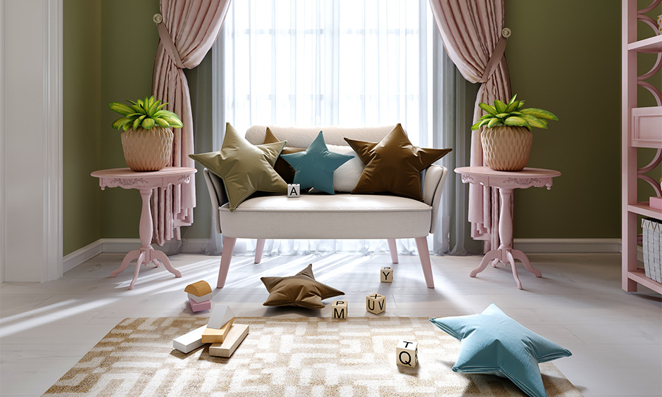 Pastel curtain for living room with green walls brings fun and bright to the area.