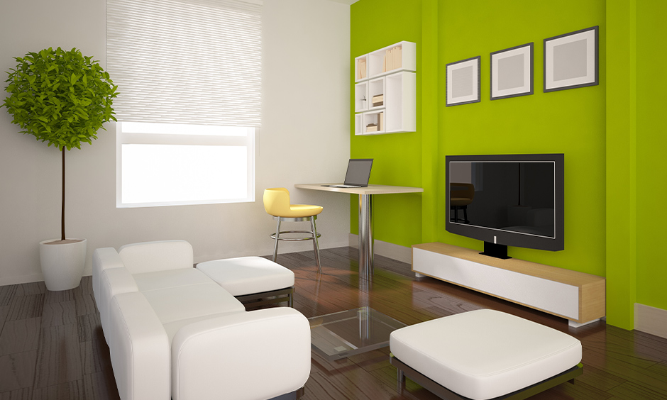 White curtain for living room with green wall and white wall brings freshness and looks striking.