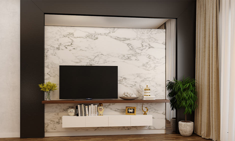 Wallpaper design for living room with neutral colours