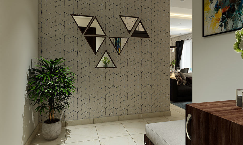 Wallpaper design for entryway with randomly placed abstract mirrors