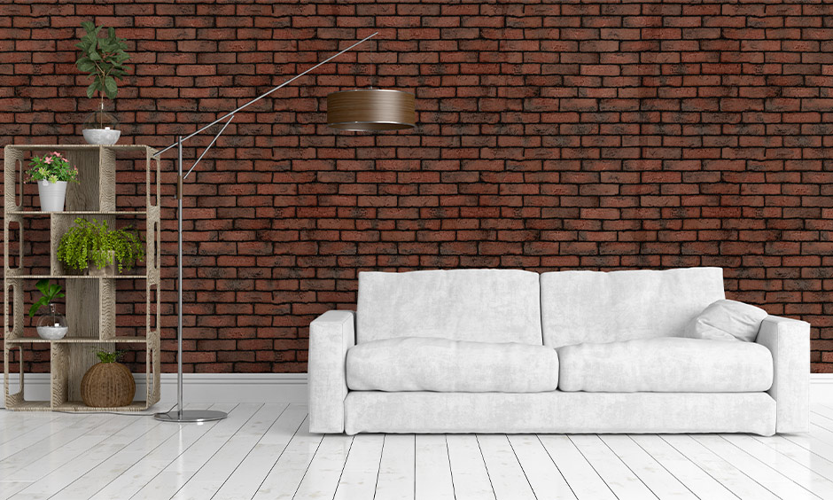 White marble floor design in a parallel pattern in the living room with a brick wall is classic.