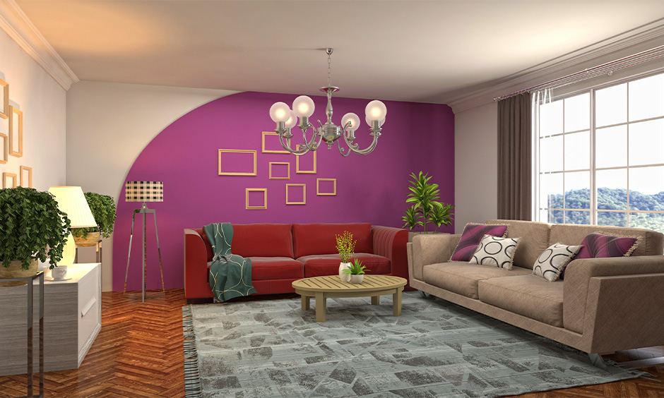 Living room walls in white and lilac analogous colour scheme combination gives a more gratifying vibe.