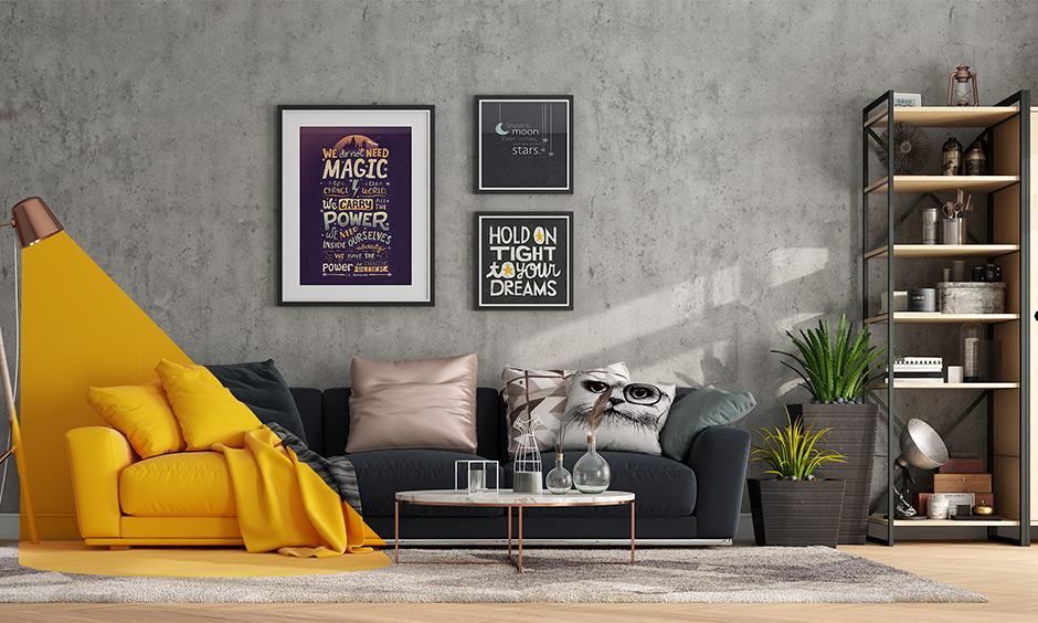 A combination of yellow and monochrome analogous color scheme living room looks stunning.