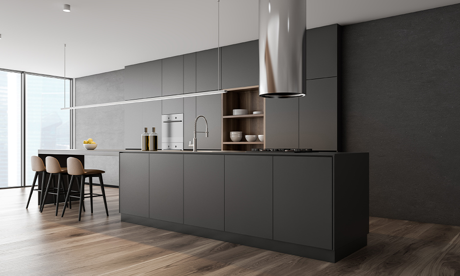 Grey kitchen cabinets ideas, The island kitchen has a dark grey cabinet colour with wooden flooring.