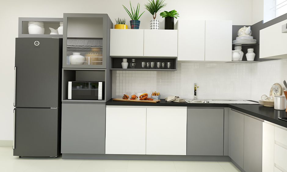 Grey and white kitchen cabinets colour in the white l-shaped kitchen is splendid.
