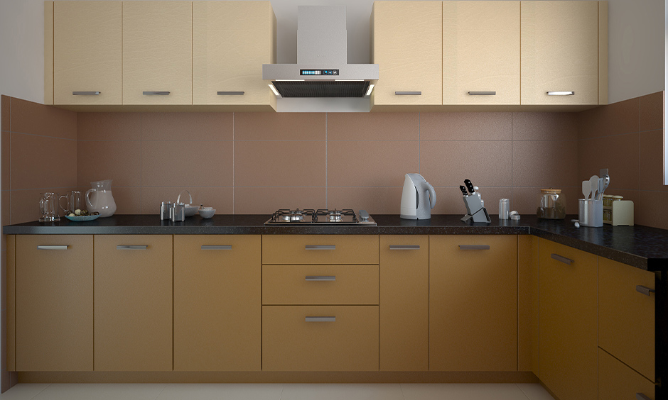 Kitchen modern wall tiles in brown colour with minimal design give chic kitchen look.