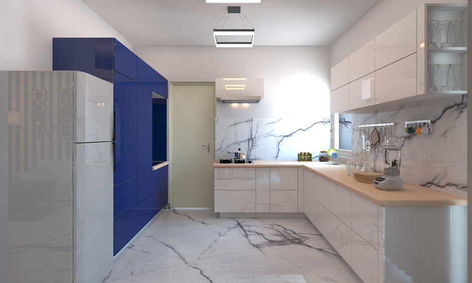 Marble modern kitchen wall tiles installed on flooring and backsplash gives the kitchen an instant elegance.