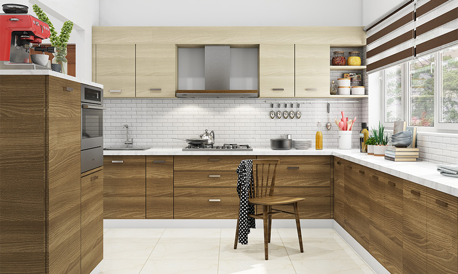 White modern kitchen wall tiles in a brick pattern backsplash look simple but sophisticated.