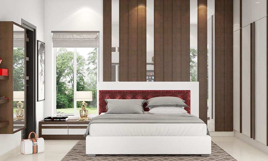 Bedroom table lamps images with a classic white rectangular shade