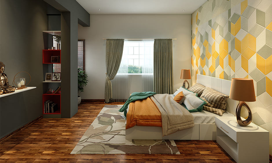 Wooden table lamps for bedroom with matching brown shades lends the room