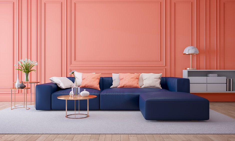 Coral pink living room decor is a modern contemporary colour