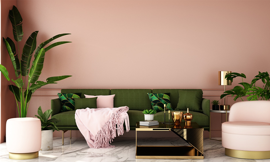 Pink, green and golden colors go well for pink living room