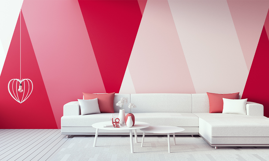 Pink walls living room with pink wallpapers or floral wallpapers