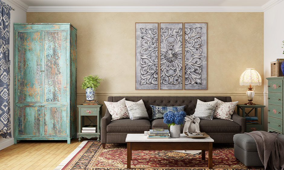 Old almirah decoration, living room reclaimed wardrobe decorated with paint gives a rustic look.