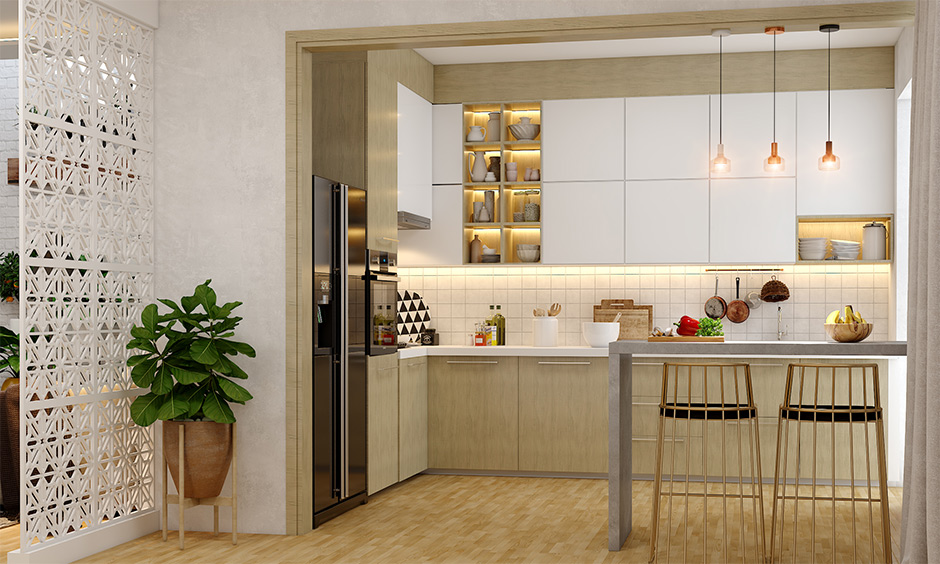 Small u-shaped kitchen, glossy and matt finishes of kitchen cabinets look spic and span with breakfast countertop.
