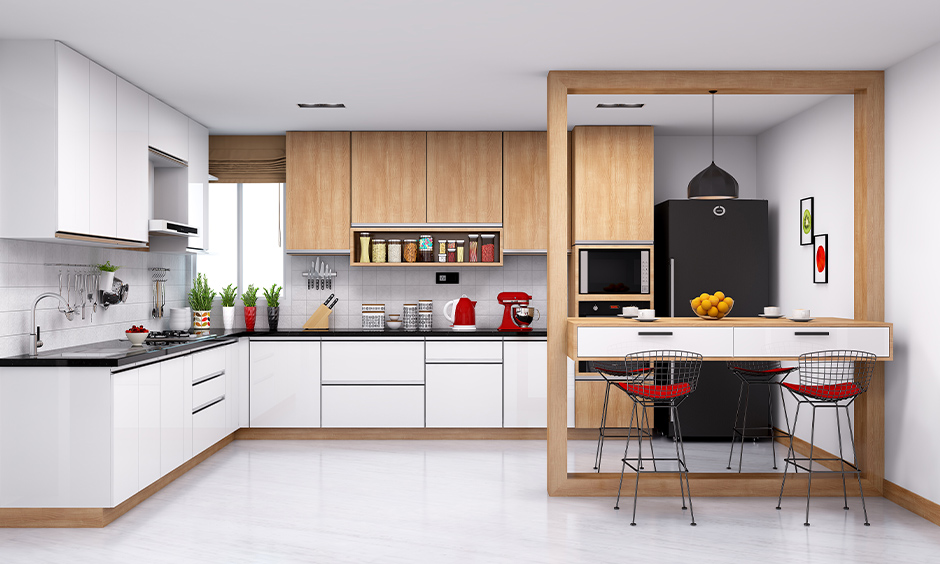 Best finish for kitchen cabinets, The kitchen has both glossy white cabinets and light wood finish cabinets.