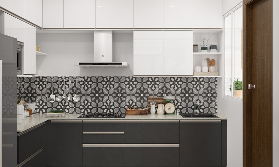 L-shaped Indian kitchen cabinet finishes in both glossy and matt combination bring aesthetic to the area.