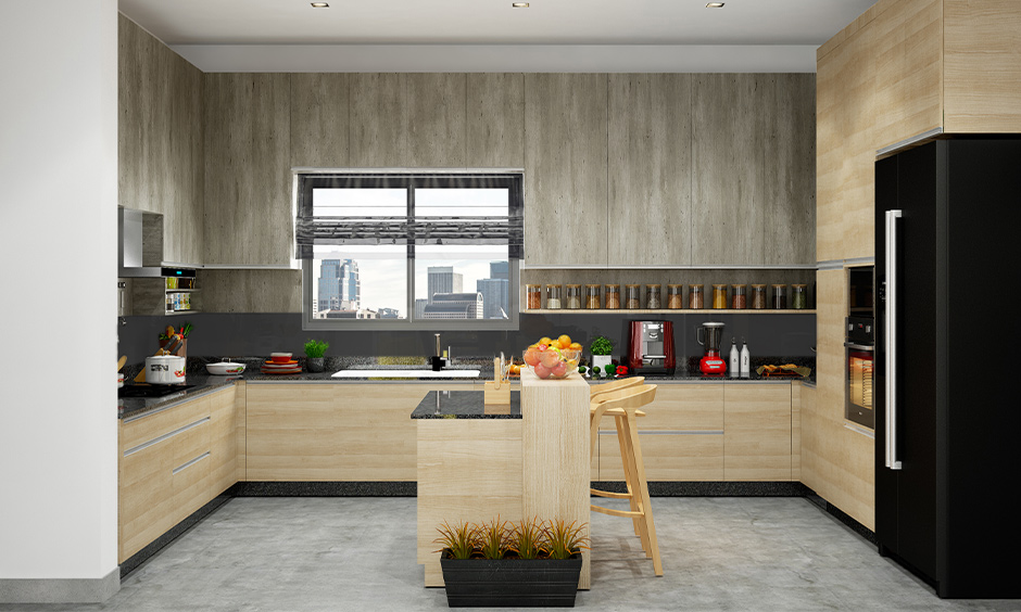 Wooden matte finish kitchen cabinets with incredible texture in the island kitchen look ultra-sleek.
