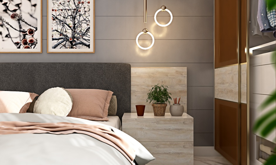 1bhk flat bedroom design with bedside table