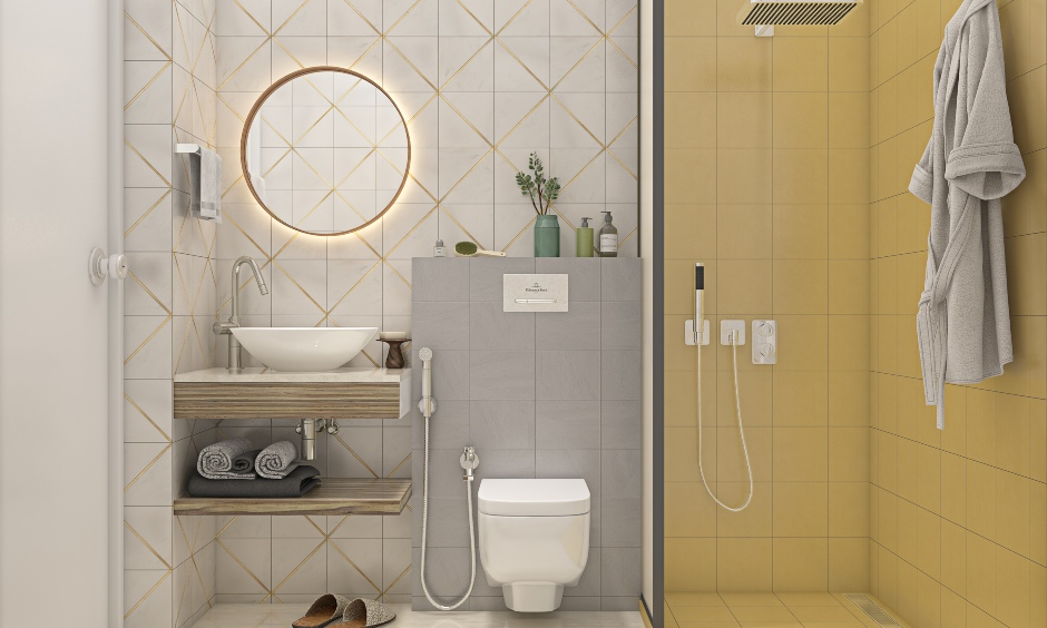 Dual toned bathroom designed in 1bhk house interior design