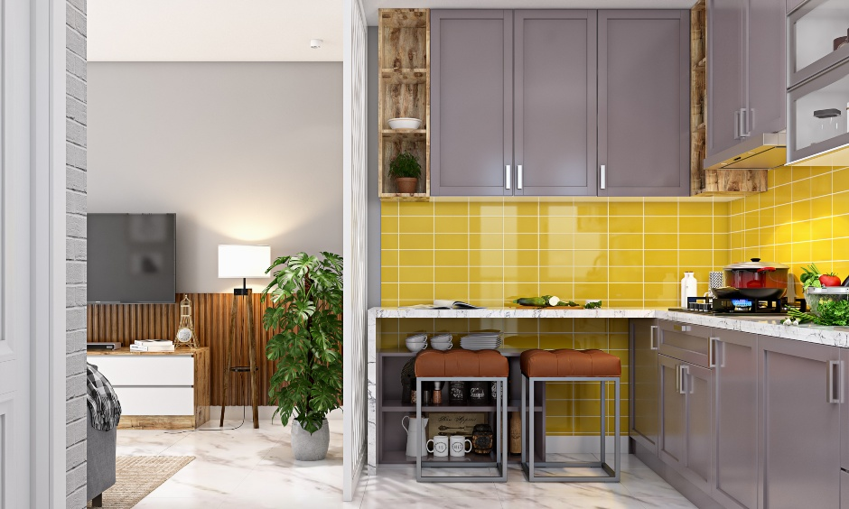 L shaped modular kitchen with base cabinets for 1 bhk apartment interior