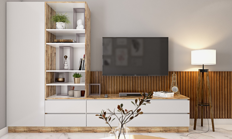 White and light wood tv unit designed by best 1bhk house designers in bangalore, mumbai and hyderabad