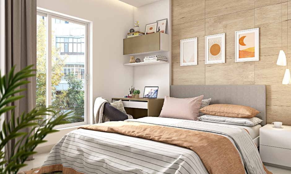 1bhk apartment bedroom design with classy interiors