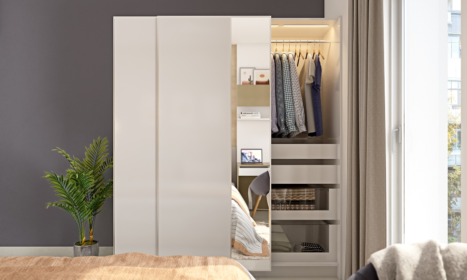 1bhk apartment design with wardrobe with sliding doors