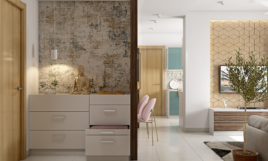 1bhk home foyer design with textured wallpaper and side cabinet with drawers for storage